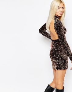 efab67ecb8 Motel Two Tone Sequin Bodycon Dress With Cut Out Back at asos.com
