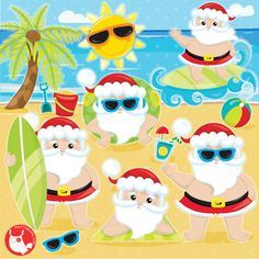 OFF SALE Santa clipart commercial use, Summer Santa clipart, Santa Claus Clipart, Vacation Santa graphics, Christmas clipart - by Prettygrafikdesign on Etsy Summer Christmas, Christmas Door, Christmas Cookies, Christmas Cards, Christmas Sale, Christmas Decorations, Xmas, Santa Claus Clipart, Image Paper