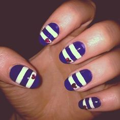 101 Nail Art Ideas From Pinterest | Beauty High--Not a fan of the colors but love the heart accent over the stripes.