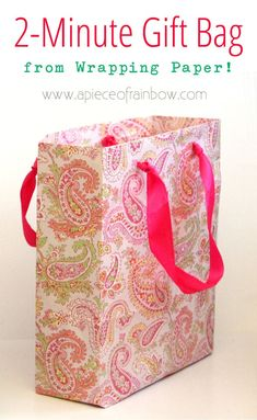 Never seen before! Easiest & fastest DIY gift bag from any paper! Great hack for Christmas, birthdays, Mother's day, or any special occasions! - A Piece of Rainbow # diy gift bags Fastest & Easiest Way To Make Gift Bags from Any Paper Diy Gift Bags From Wrapping Paper, Creative Gift Wrapping, Paper Gift Bags, Paper Gifts, Creative Gifts, Paper Purse, Wrapping Ideas, Homemade Gift Bags, Diy Cadeau