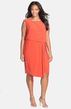 Adrianna Papell Asymmetrical Jersey Blouson Dress (Plus Size) available at #Nordstrom
