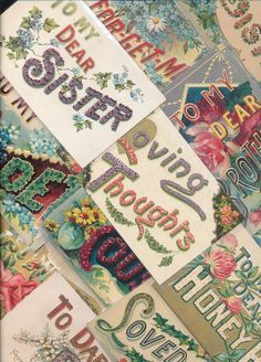~Lot of 17 Family Greetings, To Dear Large Words Antique Postcards-ttt944 #greetings
