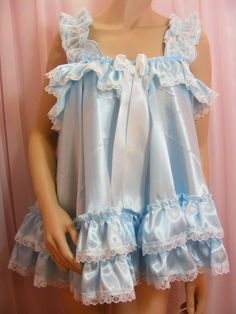 Into the Wendyhouse: sissy stories and drawings by Prim of forced feminization through transvestism and age regression Satin Nightie, Babydoll Dress, Baby Doll Nighties, Nightgowns, Night Gown Dress, Nightgown Pattern, Maid Cosplay, Blue Satin, Satin Dresses
