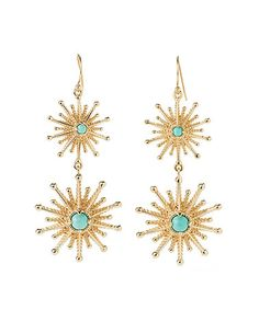 $54.99 Another great find on #zulily! Turquoise & Gold Starburst Drop Earrings #zulilyfinds