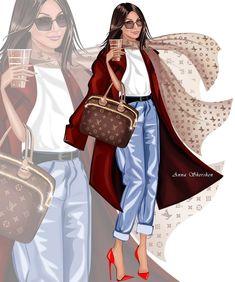 ✨✨✨✨✨✨ Fashion Drawing Dresses, Fashion Illustration Dresses, Beauty Illustration, Fashion Model Sketch, Fashion Sketches, Fashion Art, Fashion Models, Girl Fashion, Urban Chic