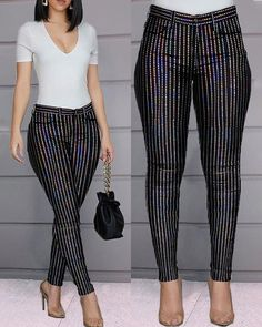Glitter Striped High Waist Sequins Pant trendiest dresses for any occasions, including wedding gowns, special event dresses, accessories and women clothing. Trend Fashion, Fashion Pants, Style Fashion, Sequin Pants, Pants For Women, Clothes For Women, Bell Bottom Pants, Faux Leather Pants, Event Dresses