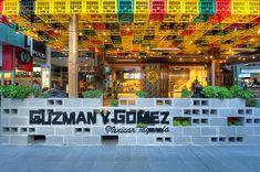 Guzman y Gomez, World Square - Mima Design - Creating Branded Retail + Hospitality Environments Cafe Design, Food Design, Store Design, Restaurant Owner, Restaurant Interior Design, Deco Cafe, Restaurants, Ceiling Design, Retail Design