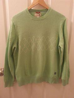 Men's CREST Tommy Hilfiger Size M Argyle Light Green Crew Neck Sweater #TommyHilfiger #Crewneck