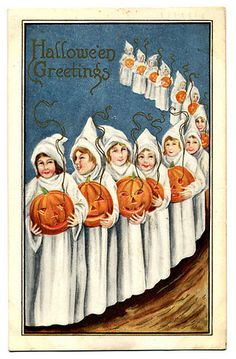 Ghosts in a row - Vintage Halloween