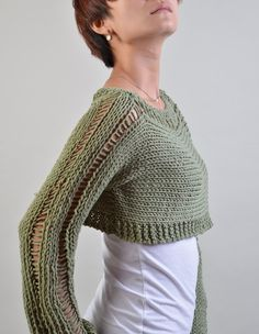Items similar to Hand knit woman sweater Little shrug cover up top Celery Green cropped sweater- ready to ship on Etsy Knitting Yarn, Hand Knitting, Crop Top Sweater, Chunky Yarn, Crochet Patterns, Trending Outfits, Cover Up, Sweaters For Women, Feminine