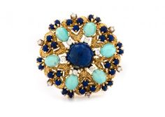 vintage turquoise & lapis brooch / trumpet & horn... love!