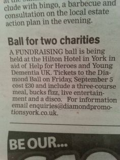 News Paper promotions about our charity ball, all thanks to the press and @kairobeach  x