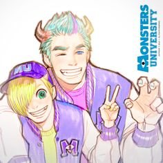 Mike and Sully as anime characters! Sully Monsters Inc, Monsters Ink, Disney Kunst, Disney Art, Disney Anime Style, Disney And Dreamworks, Disney Pixar, Cartoon Characters As Humans, Anime Characters