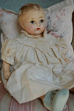 vintage doll - sweet face.  We played with one that Grandma had, similar to this one, soft body but porcelain head, arms, etc.