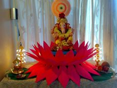 thermacol temple decoration - Google Search Ganpati Decoration Theme, Eco Friendly Ganpati Decoration, Mandir Decoration, Ganapati Decoration, Gauri Decoration, Ganesh Chaturthi Decoration, Happy Ganesh Chaturthi Images, Festival Decorations, Paper Decorations
