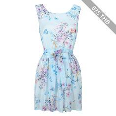 Choies Blue Floral Sleeveless High Waist Skater Dress