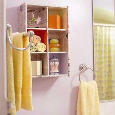 Gaveta de armário transformada em prateleira com divisórias
