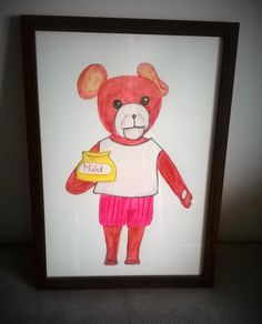 sweet Teddy Bear is a watercolor pencil illustration