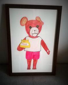 sweet Teddy Bear is a watercolor pencil illustration