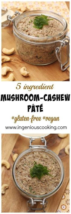 Mushroom-cashew pâté - simple vegan spread made with only 5 ingredients in under 20 minutes! Goes perferctly with toasts or wraps. So earthy and nourishing! (Vegan Dip And Spreads) Veggie Recipes, Whole Food Recipes, Vegetarian Recipes, Cooking Recipes, Healthy Recipes, Vegetarian Pate, Free Recipes, Cashew Recipes, Cheap Recipes