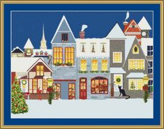 Cat At The Christmas Village Cross Stitch Pattern