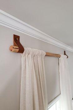Wood Curtain Rods, Cheap Curtain Rods, Homemade Curtain Rods, Farmhouse Curtain Rods, Modern Curtain Rods, Curtain Rod Brackets, Rideaux Design, Ideias Diy, Diy Curtains