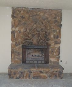 I M Wondering How I Could Update This Moss Rock Fireplace Rock