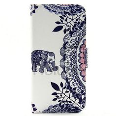 Colorful Painting Magnetic Flip Stand TPU+ PU Leather Case for iPhone 6/ iPhone 6S - Elephant and Decorative Pattern