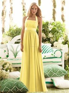 After Six 6566 Yellow Chiffon Full Length Long Halter Bridesmaid Dress $125.00