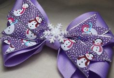 Purple Winter Snowman 5 Hair  Bow Cheer Boutique  by MyCutieBows, $5.00