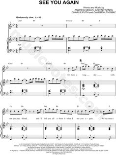 Wiz Khalifa — See You Again Piano sheet music 2015, Furious 7, ft. Charlie Puth