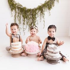 Want a workout? Photograph a triplet's cake smash! Calgary News, First Birthday Photography, Cake Smash Photography, Cake Smash Outfit, One Year Old, Photographing Kids, Triplets, Family Goals, Newborn Photographer
