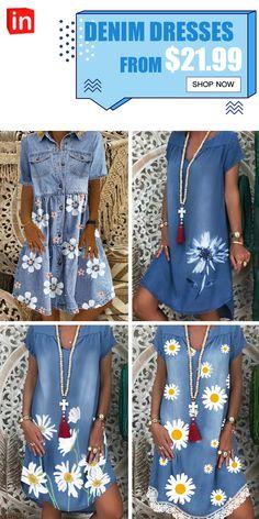 Dresses For Sale, Cute Dresses, Denim Dresses, Diy Fashion, Womens Fashion, Leopard Fashion, Affordable Dresses, Denim And Lace, Trousers Women