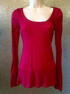 American Eagle Outfitters Semi-Sheer Long Sleeve Top in Burgandy size Small #AmericanEagleOutfitters #Blouse