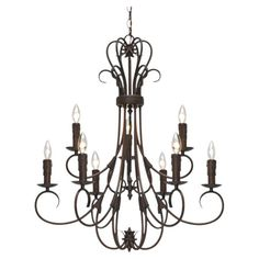 Showcasing a candelabra-inspired silhouette, this eye-catching chandelier showcases an elegantly scrolling silhouette and a rubbed bronze finish.