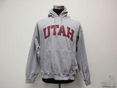 Champion Utah Utes Hoody Hoodie Sweatshirt sz L Large University Grey NCAA #Champion #UtahUtes #tcpkickz