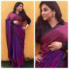 Saree Draping For Plus Size Women, shirt style blouse Cotton Saree Designs, Sari Blouse Designs, Saree Draping Styles, Saree Styles, Indian Bridal Outfits, Indian Designer Outfits, Ethnic Sarees, Indian Sarees, Saree Dress