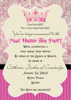 Mad Hatter Tea Party Baby Shower  5x7 PRINTABLE by SwirlCreative, $20.00 #babyshower #madhattertea