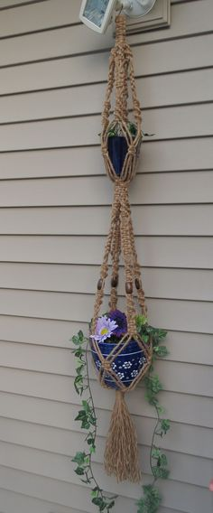 Double macrame plant hanger, Made with 6 ply jute, jute plant hanger, double jute plant hanger, hanging planter, pot holder, hippie, 70s, $38.00
