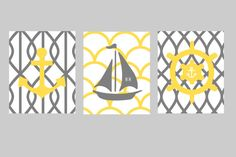 Yellow and Gray Nautical Nursery Wall Art, 3- 8x10 prints, Pottery Barn Harper bedding, or toddler room, or as on Etsy, $45.00