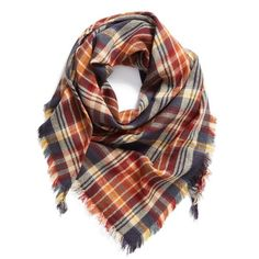 Women's Bp. 'Heritage Plaid' Triangle Scarf (€22) ❤ liked on Polyvore featuring accessories, scarves, navy multi, tartan scarves, plaid scarves, navy blue shawl, tartan plaid scarves and plaid shawl