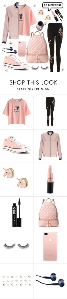 """Untitled #37"" by aniaandreea ❤ liked on Polyvore featuring WithChic, Topshop, Converse, Miss Selfridge, MAC Cosmetics, LORAC and MICHAEL Michael Kors"