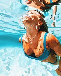 Art Sketches, Art Drawings, Horse Drawings, Wal Art, Underwater Painting, Aesthetic Art, Digital Illustration, Summer Vibes, Art Girl