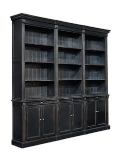 Large New Bookcase Deluxe Display Cabinet Glossy Black Painted Wood