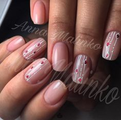 Delicate line art with jewel Fabulous Nails, Gorgeous Nails, Cute Nails, Pretty Nails, Lines On Nails, Nagellack Trends, Manicure E Pedicure, Nagel Gel, Simple Nails