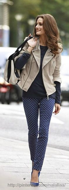 polka dots and patterned pants donw right. so put together!!! Olivia Palermo for SS'13 OTTO