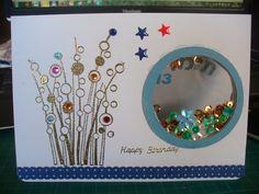 Shaker card for boy Spring Gems rubber stamp