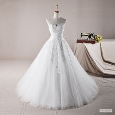 empire bridesmaid dresses Sweetheart Ball Gown Tulle wedding dress $298.98