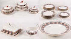 Estimate: £60 - £80  Description: A selection of Royal Doulton 'Cellini' dinnerware, to suit 6 place setting with spares, c.1924, service comprises dinner, entree and side plates, soup dishes, graduated platters, sauce tureen with ladle, vegetable tureen and soupier, also included is a covered butter dish