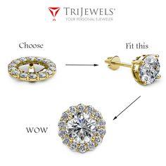 Accessorize your earrings with a pair of dazzling diamond jackets. Jacket Earrings, Stud Earrings, Studded Jacket, Bespoke Jewellery, Ear Studs, Halo Diamond, Jewels, Gold, Jackets